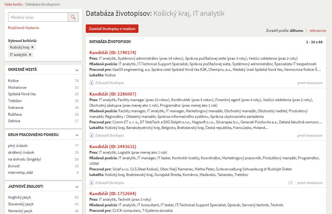 databáza životopisov