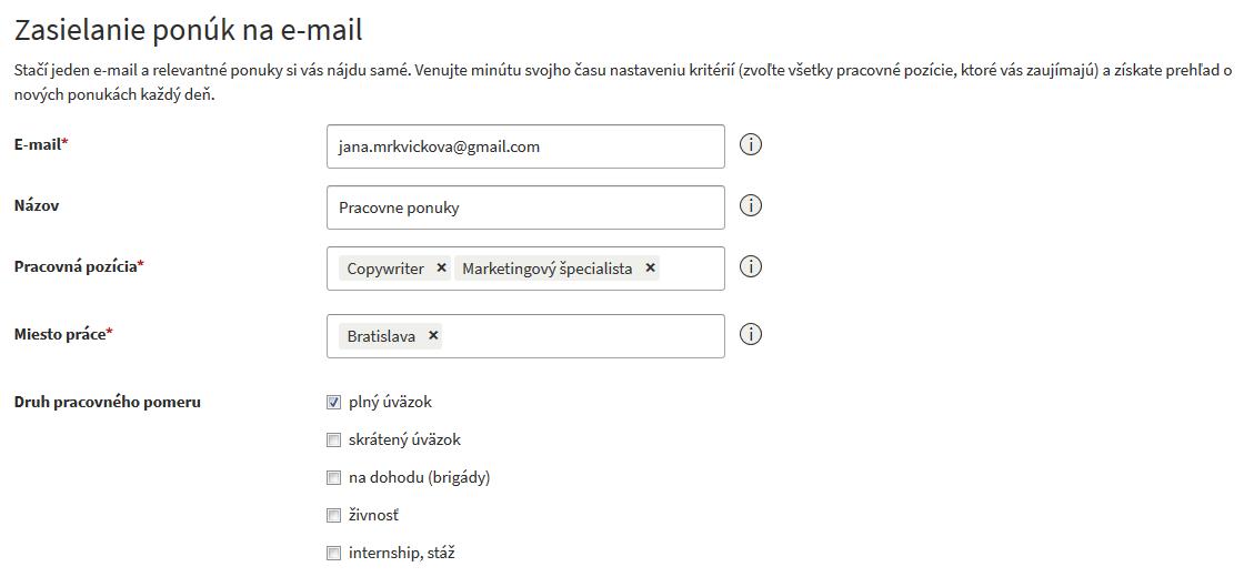 pracovné ponuky emailom