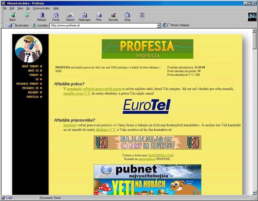 Profesia, 1998, home page
